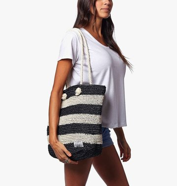 Krochet Kids Shoreline Crocheted Beach Bag - Black Stripe