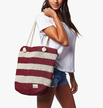 Krochet Kids Shoreline Crocheted Beach Bag - Wine Stripe