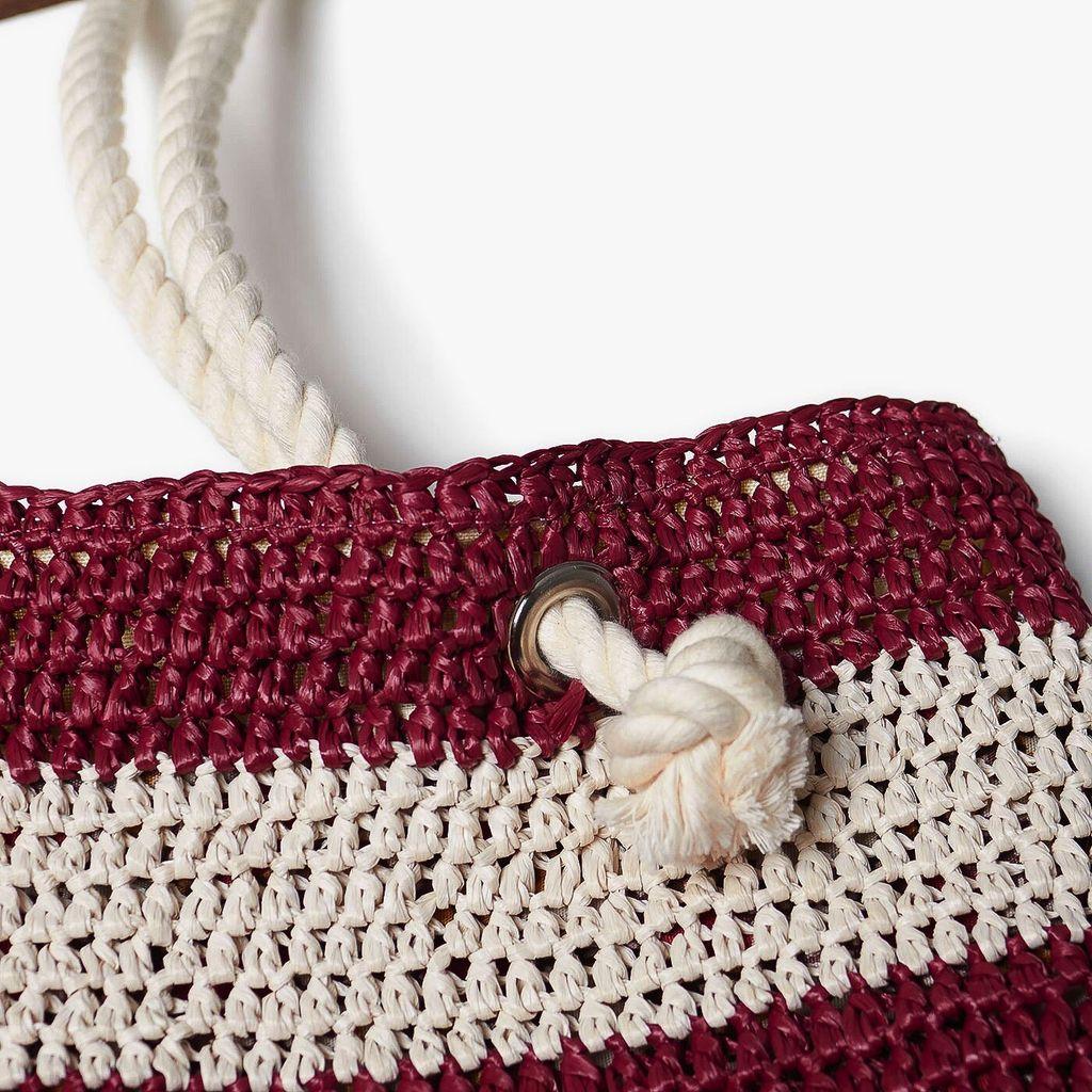 Krochet Kids Shoreline Crocheted Beach Bag - Wine Stripe