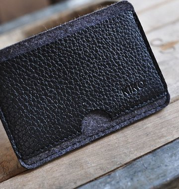 Kiko Leather Handcrafted Combo Card Case - Black