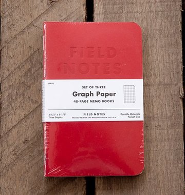 Field Notes Red Blooded Pocket Notebook 3-Pack - Graph Paper