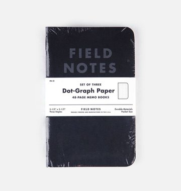 Field Notes Pitch Black Pocket Notebook 3-Pack - Dot-Graph Paper