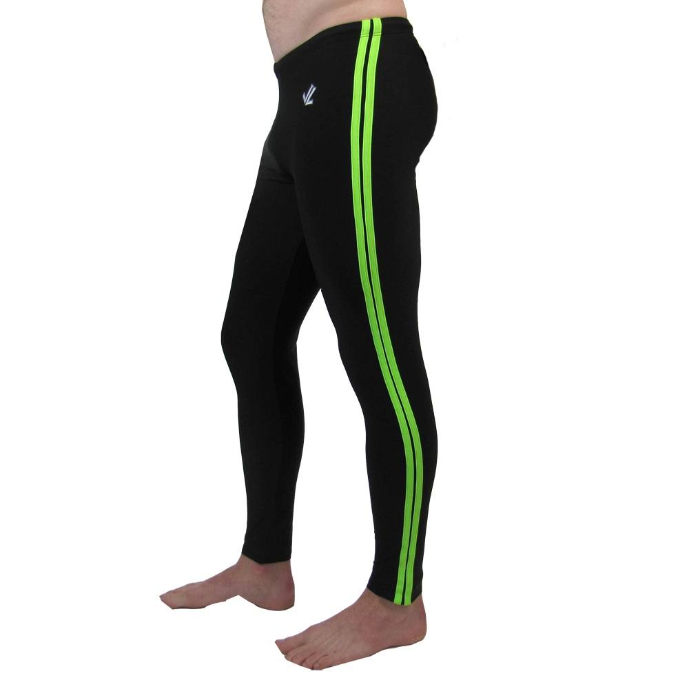 Polypro Double Speed Stripe Tights : Black / Lime
