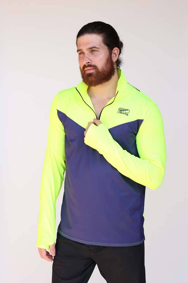 USR Men's Pro Paneled Quarter Zip Navy + High Vis