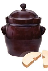Polish Pottery Fermenting 10l Brown Round Pot Packed