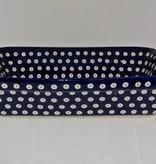 Casserole Lrg - Blue White dot Blue Rim)