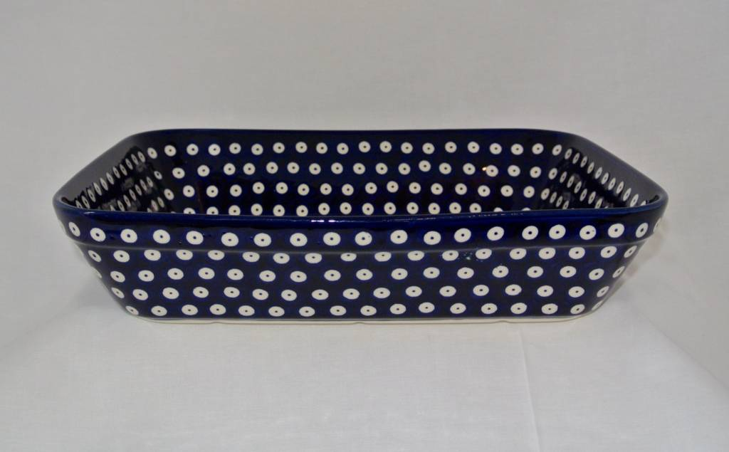 Casserole Lrg - Blue White dot Blue Rim)