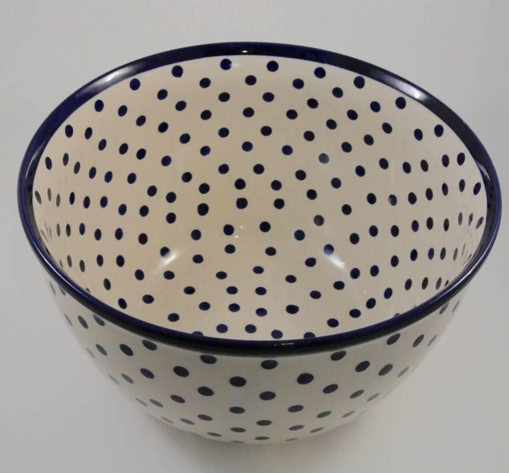 Large Bowl 2 Blue Dots (Blue Rim)