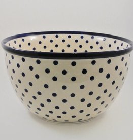 Large Serving Bowl - Blue Dots (Blue Rim)