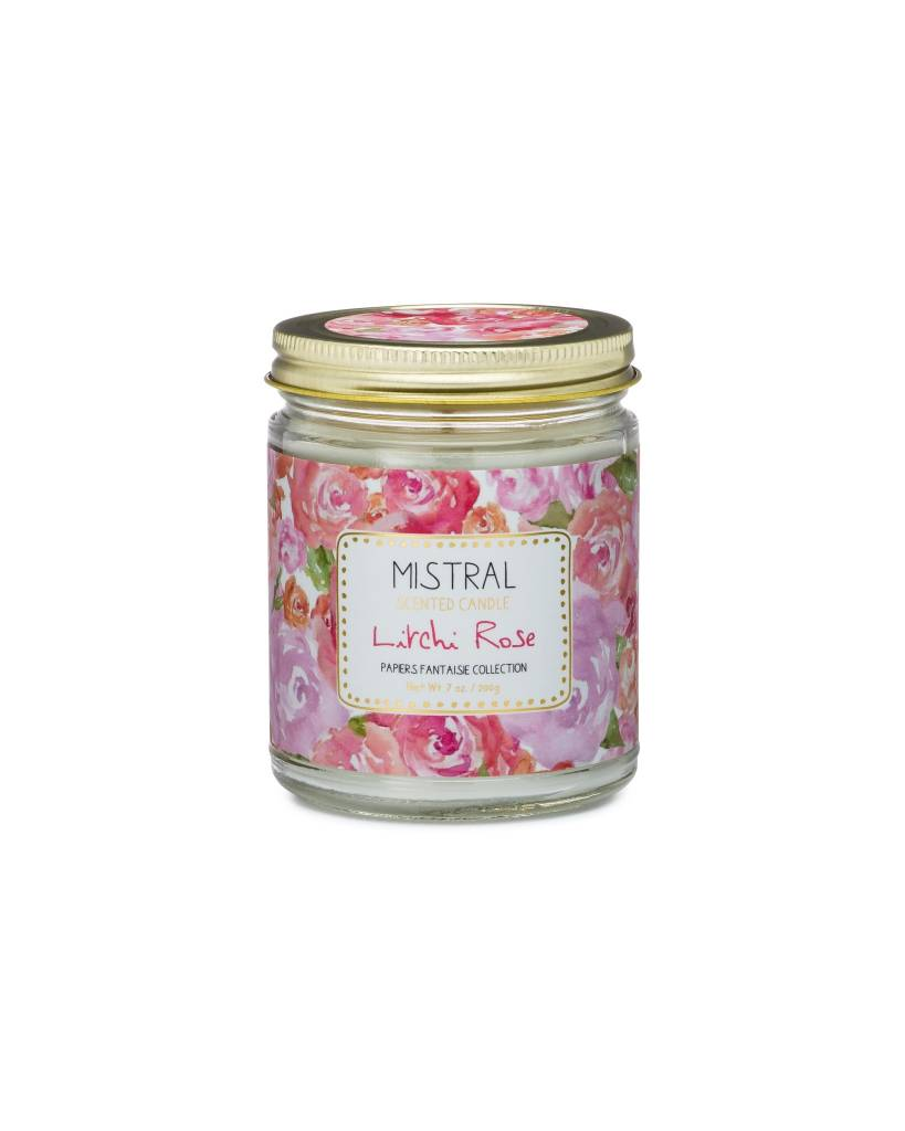 Lychee Rose Jar Candle 7 oz - Mistral Papiers Fantaisie Collection