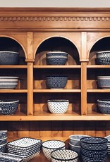Polish Pottery Large Serving Bowl - Blue/Green/Dots