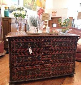 Scandinavian hand painted antique blanket chest