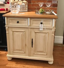 2 Door Buffet - distressed cream w/ waxed top