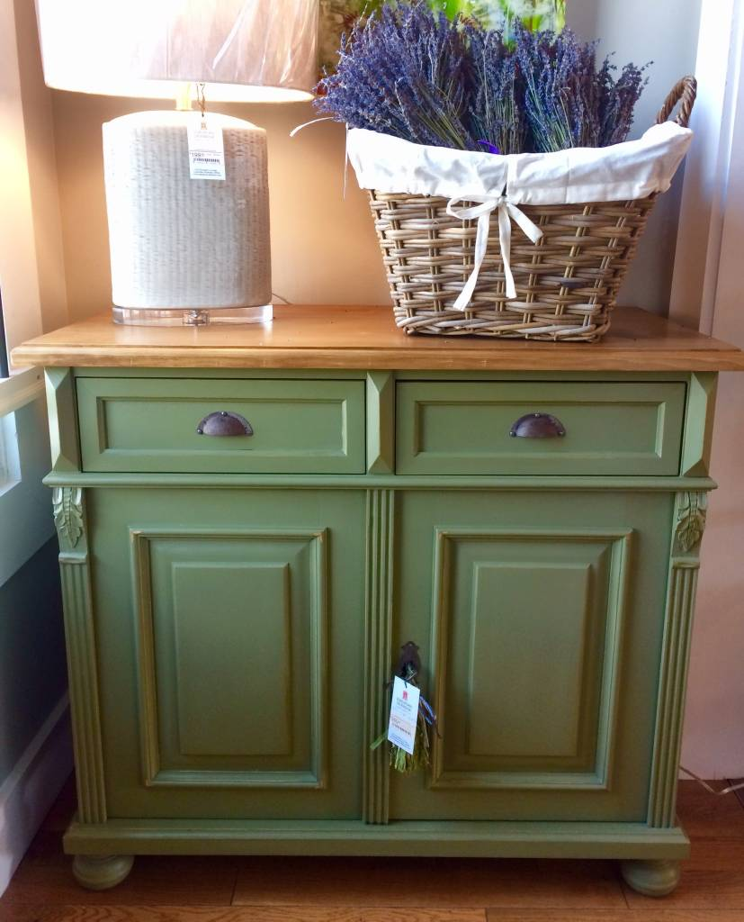 2 Door Buffet - Sage green / Waxed Top