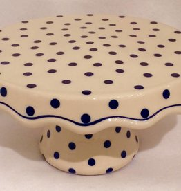 Cake Stand - White - Blue Dots