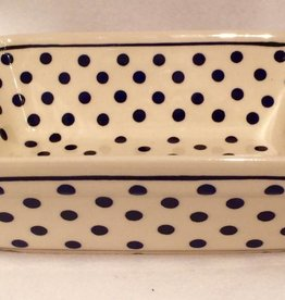 Casserole Small - White w/ Blue Dots