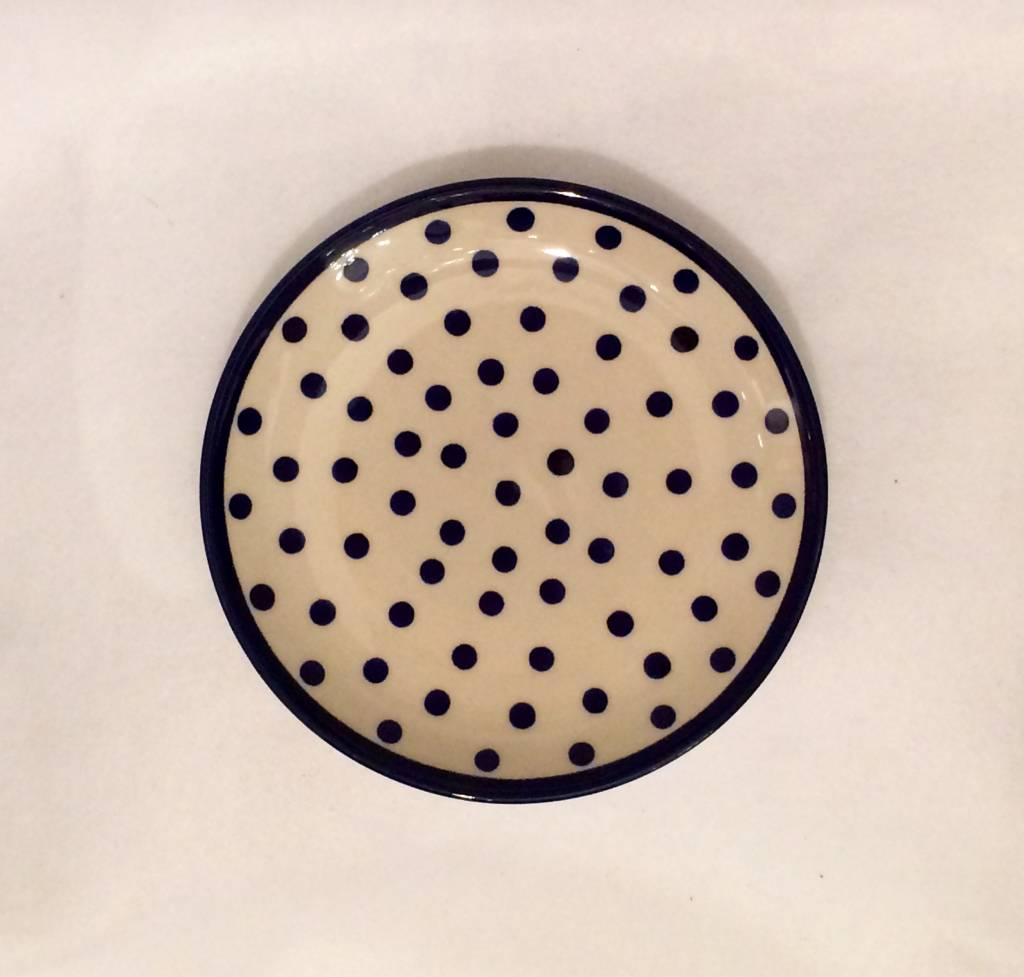 Salad Plate - White/Blue Dots W/Blue Rim