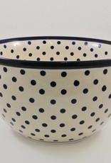 Large Serving Bowl - White w/Blue Dots & Blue Rim