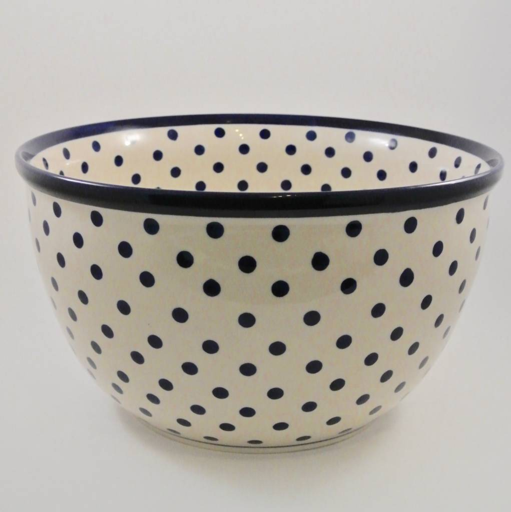Large Serving Bowl - White w/Blue Dots & Blue Rim