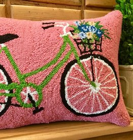 "Pillow - Green Bike w/Flowers - 14"" x 18"""