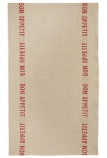 "Charvet Editions - Bistro/Tea Towel Natural & Red Bon Appetit - 18""x30"""