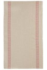 "Charvet Editions - Bistro/Tea Towel Natural & Red Vichy - 18""x30"""