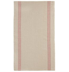 "Charvet Editions - Bistro/Tea Towel Natural & Red Vichy - 18""x30"""