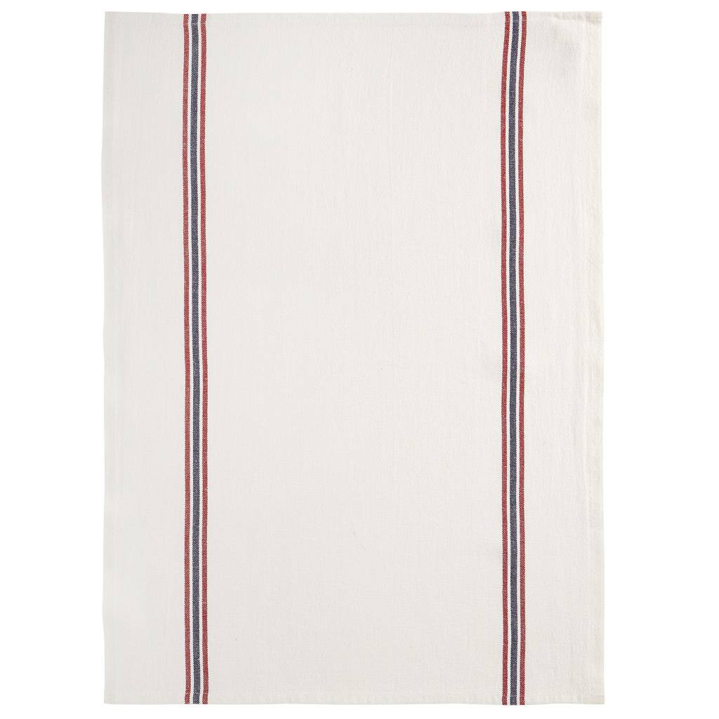 charvet editions french linen bistro tea towel with red blue