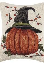 """Pillow - Pumpkin w/Witch Hat - 18"""" Oblong"""