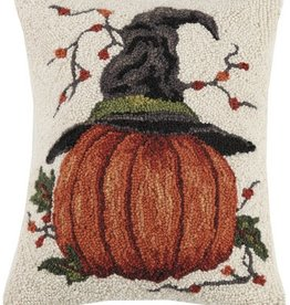 "Pillow - Pumpkin w/Witch Hat - 18"" Oblong"