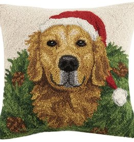 "Pillow - Golden Retriever w/Wreath - 16"" x 16"""