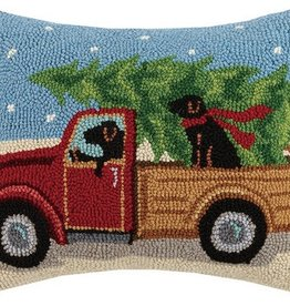 "Pillow - Black Labs w/Holiday Truck - 18"" Oblong"