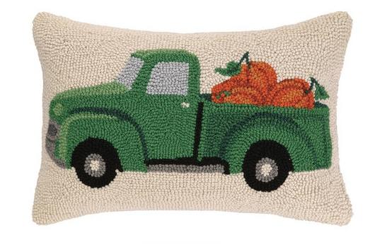 """Pillow - Fall Truck with Pumpkins - 12"""" Oblong"""