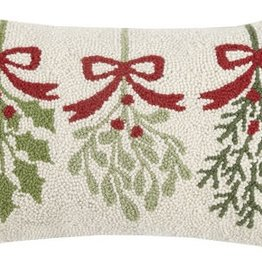 "Pillow - Three Mistletoe - 20"" Oblong"