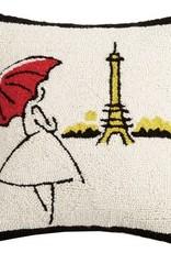 """Pillow - Red Umbrella Eiffel Tower - 16"""" x 16"""""""