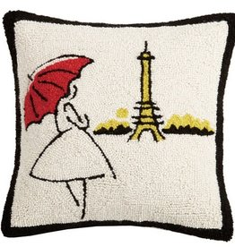 "Pillow - Red Umbrella Eiffel Tower - 16"" x 16"""