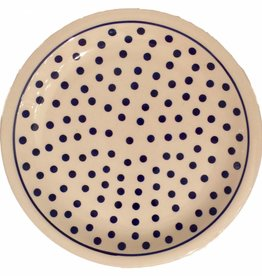 Dinner Plate - White/Blue Dots W/Blue Rim