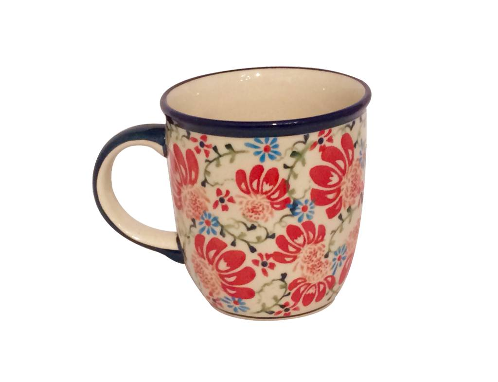 Mug - Light Blue/Red Flowers
