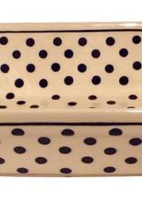 Casserole Small - White w/ Blue Dots