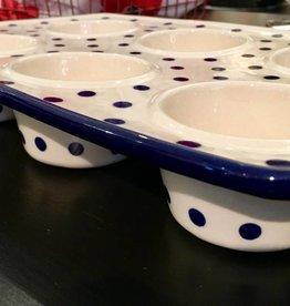 Muffin Pan - Blue/White Dots