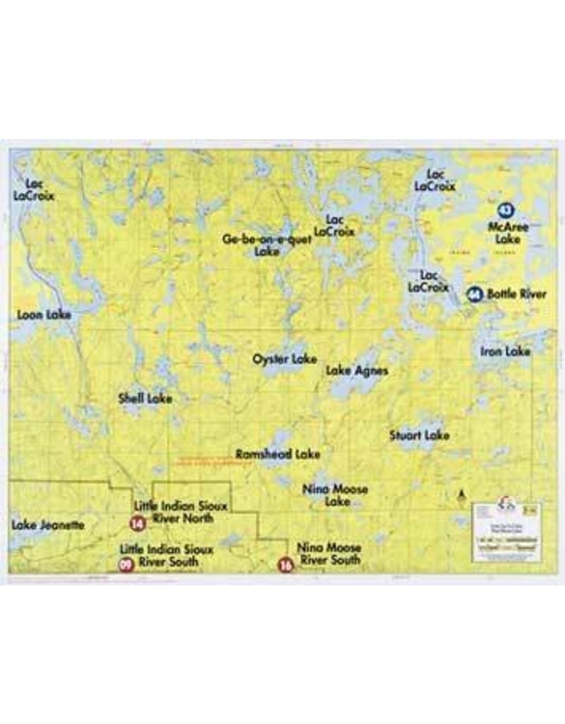 WA Fisher Fisher Map F-16 Loon, Lac LaCroix, Nina Moose Lakes