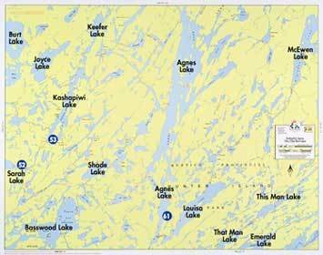 Fisher Map F-18 Kashahpiwi, Agnes, This/ That Man Lakes