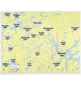 WA Fisher Fisher Map F-25 Kawnipi, Russell Lakes