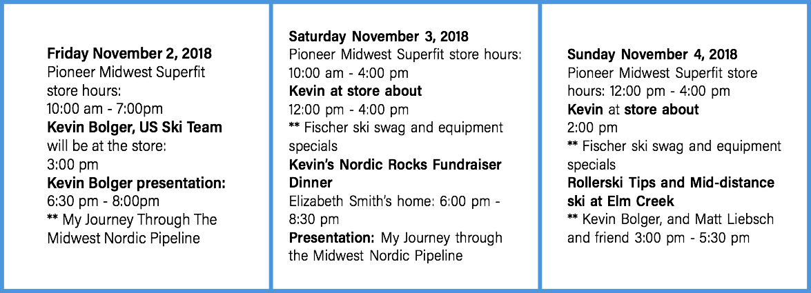 Pioneer Midwest CXC Superfit Weekend Schedule