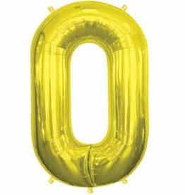 Mylar Gold #0 Number Shape Balloon