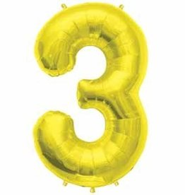 Mylar Gold #3 Number Shape