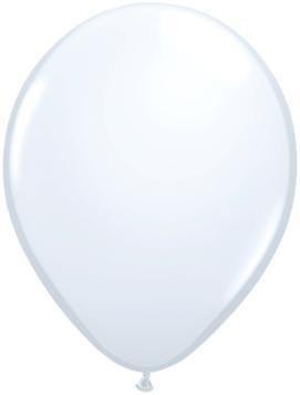 """11"""" White Qualatex Latex Balloon 1 Dozen Flat"""