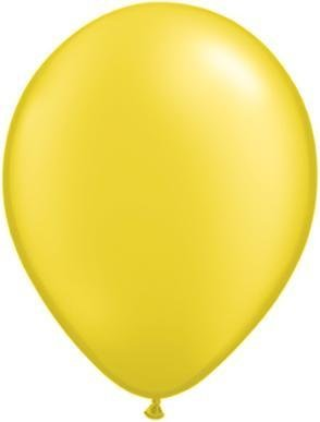 "11"" Pearl Citrine Yellow Latex Qualatex Balloon 1 Dozen Flat"