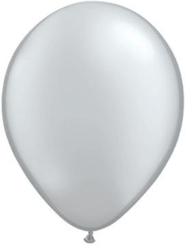"11"" Silver Metallic Qualatex Balloon 1 Dozen Flat"