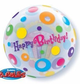 "Birthday Cupcakes and Dots 22"" Bubble Balloon"